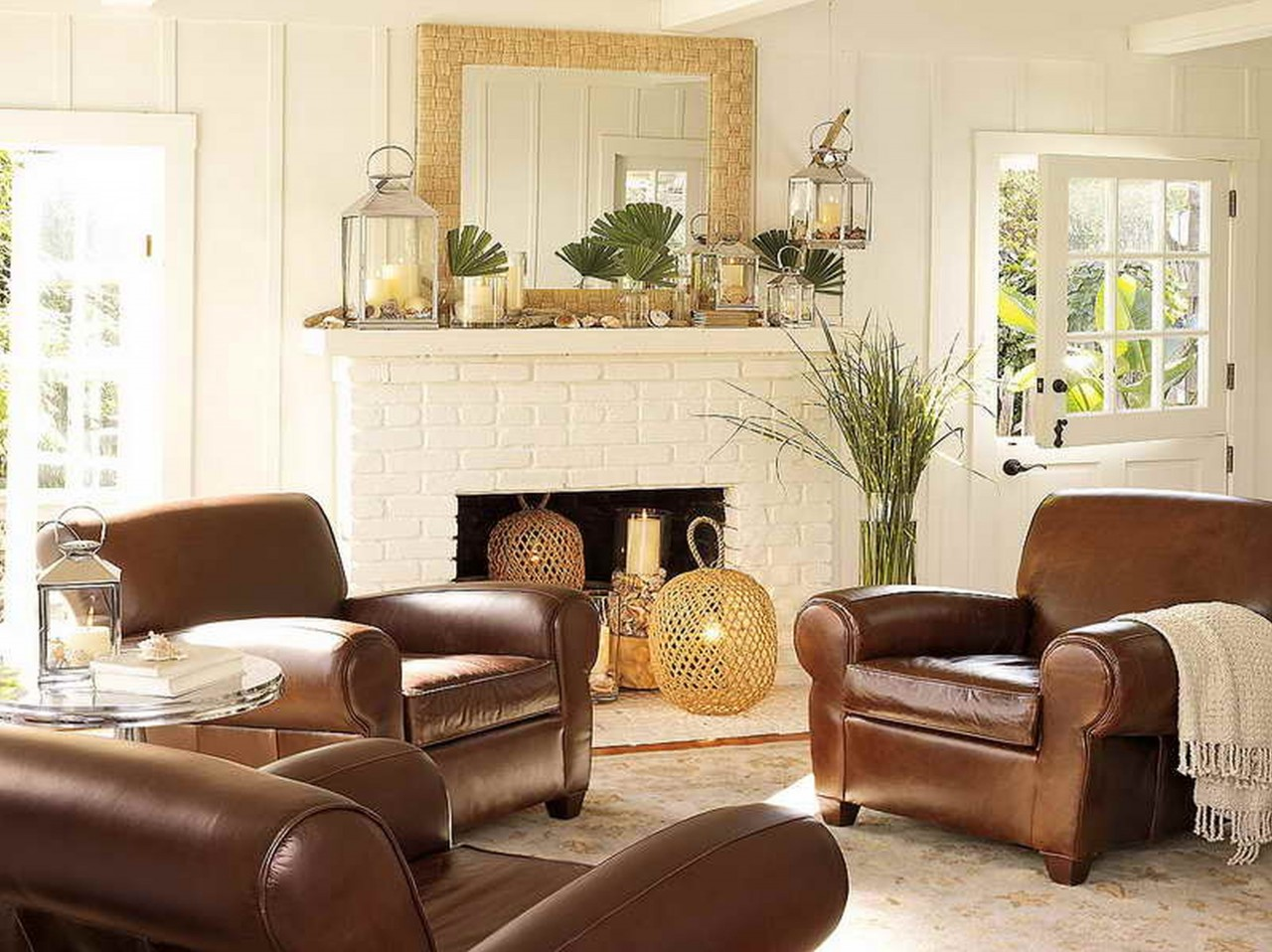 Easy Cheap Home Decorating Ideas With Brown Leather Sofa Exciting Home