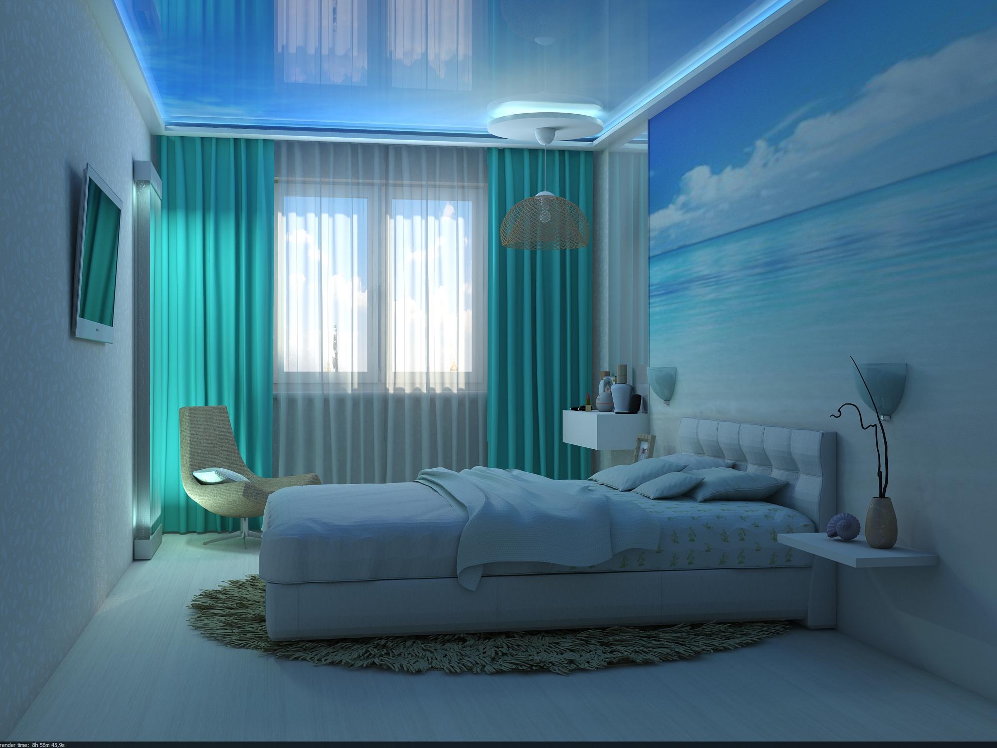 Дизайны спален в голубом